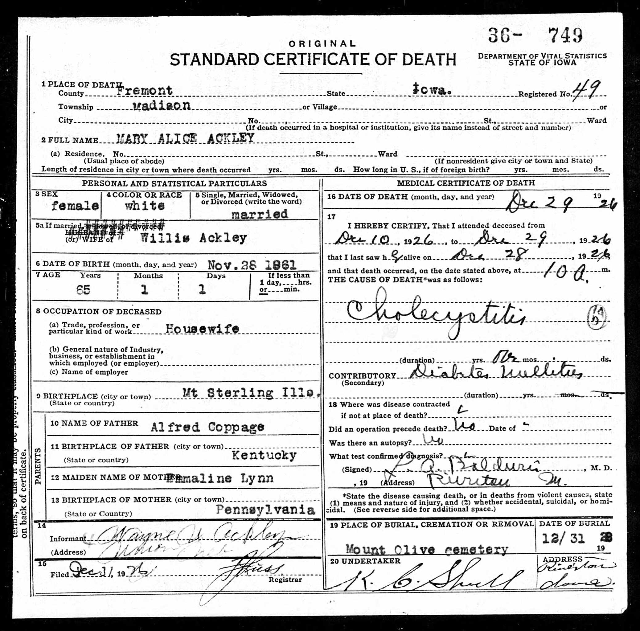 Death Certificate Mary Alice Coppage 1926 Patrick M Kellys